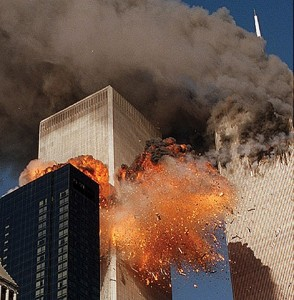 The Twin Towers in flames