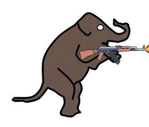 Elephant with gun