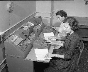 Keypunching computer data in the 1950s