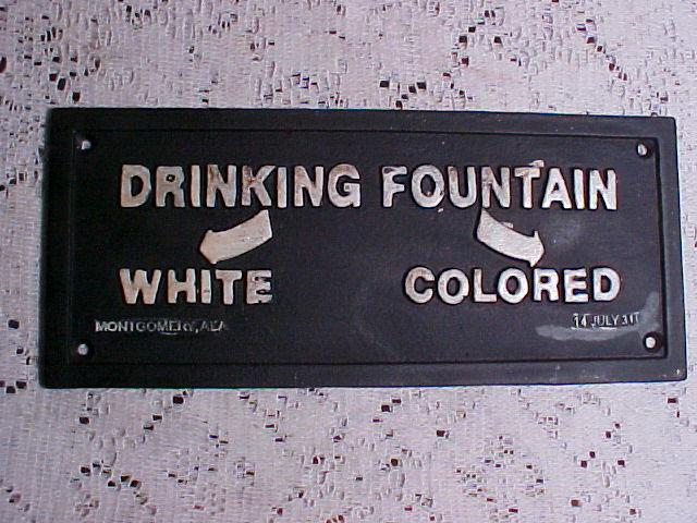 Segregated drinking fountain sign