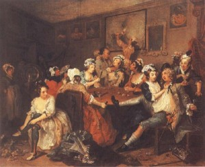 Hogarth's The Rake's Progress tavern scene