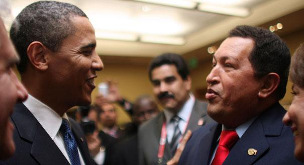Hugo Chavez speaks with Barack Obama