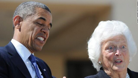 Barack Obama and Barbara Bush