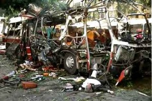A civilian bus after a Palestinian homicide attack