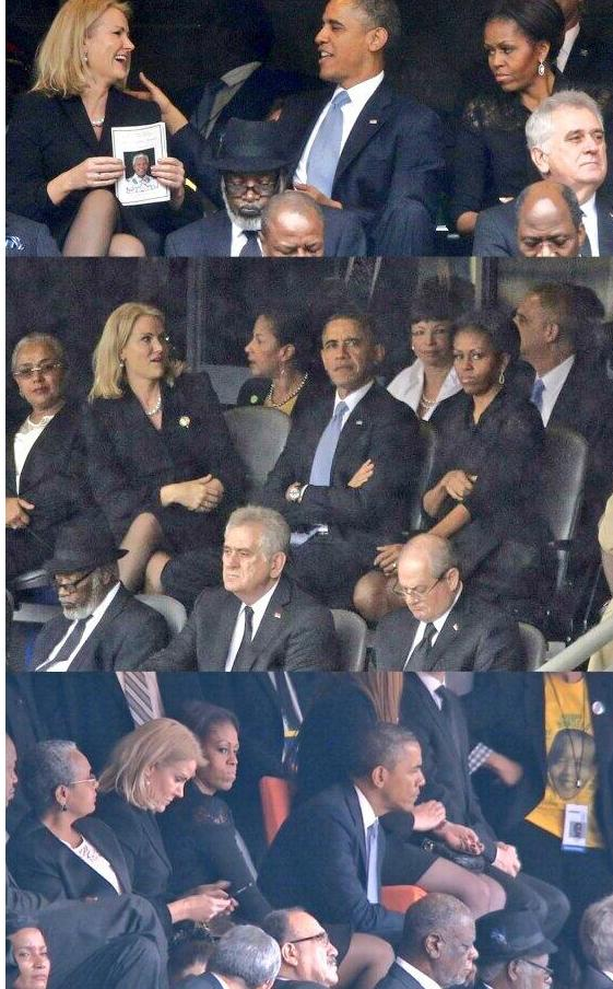Michelle switches seats with Obama at Mandela memorial