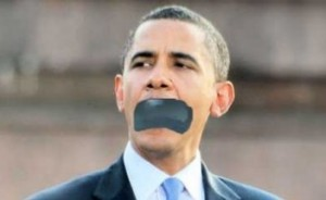 Obama mouth taped shut