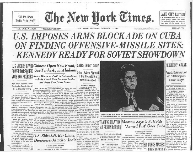 New York Times on Cuban Missile Crisis