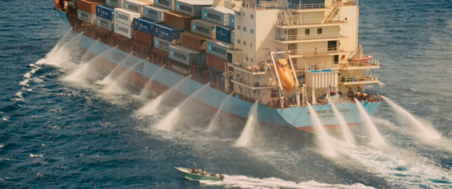 Water cannons in Captain Phillips