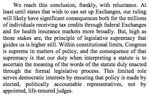 Core of ruling re Obamacare