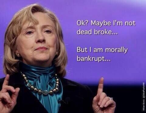 Hillary morally bankrupt