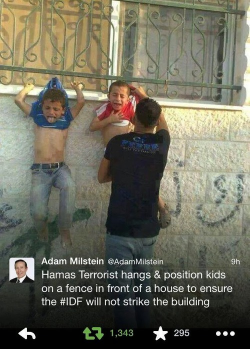 Hanging up Palestinian children