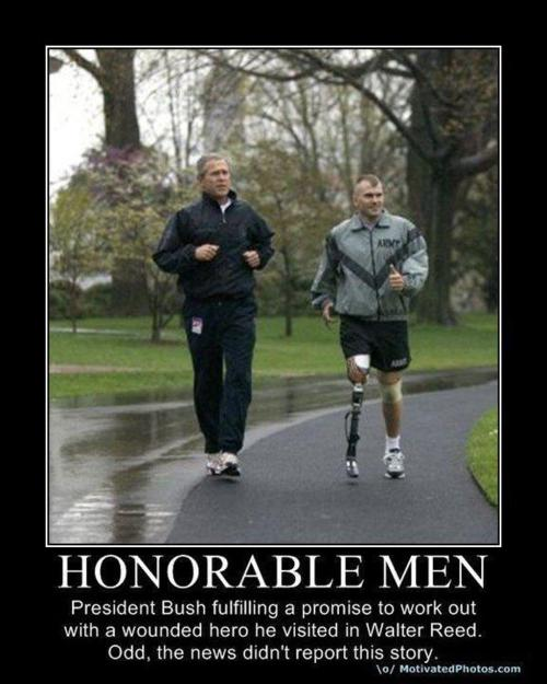 President Bush and a wounded warrior