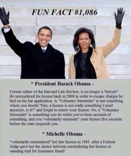 Michelle and Obama voluntarily surrendered their law licenses