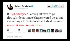 Adam Baldwin on the travesty of sending men to do not rape classes