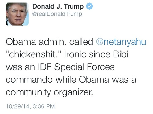 Donald Trump on administrations chickenshit insult to Netanyahu