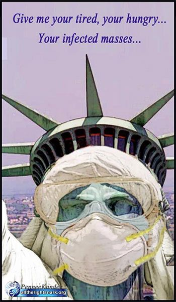 Statue of liberty tired hungry infected masses