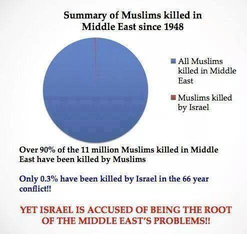 Chart showing Muslims killed by Israel and killed by fellow Muslims