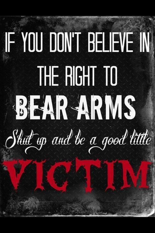 If you don't believe in guns right to bear arms be a good victim