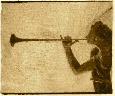 Joshua blowing horn