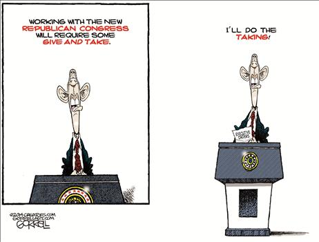 Obama does taking when working with Republicans
