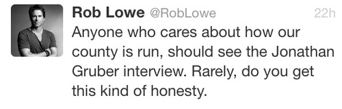 Rob Lowe promoting the Gruber interview