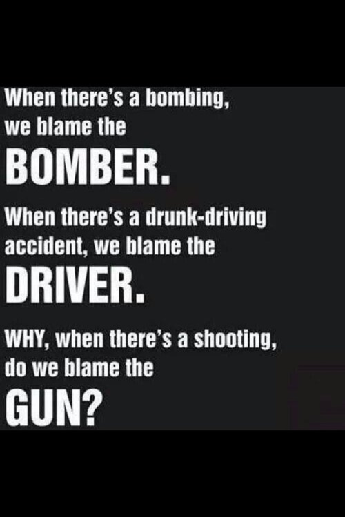 Why when there's a shooting do we blame the gun