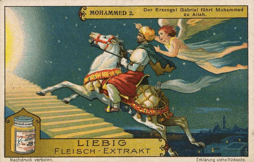 German trading card showing Mohamed ascending to Paradise