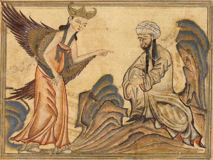 Medieval image of Mohamed receiving revelation from the angel Gabriel
