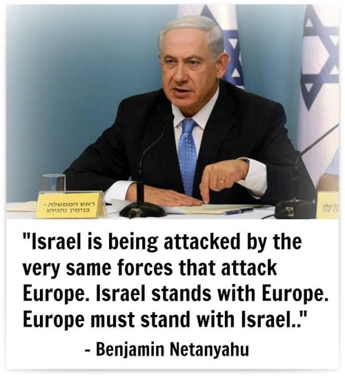 Netanyahu pointing out that Israel and Europe have a common enemy