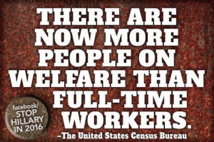 America has more welfare recipients than full time workers