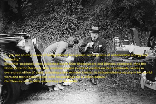 Churchill having a picnic