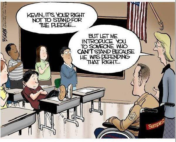Not standing for the pledge