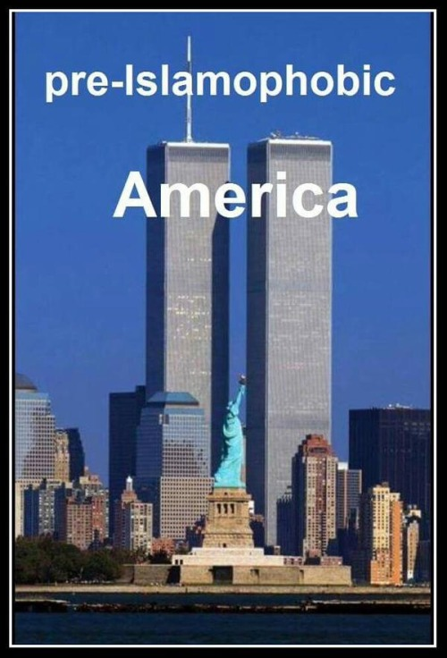 pre Islamophobic America with Twin Towers