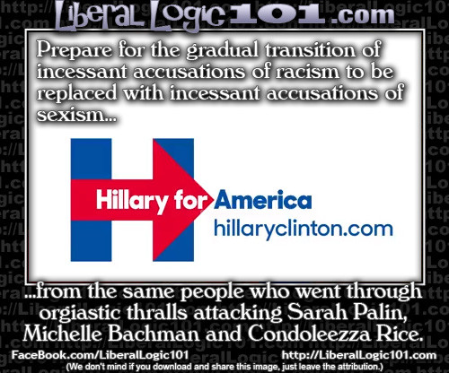 Criticizing Hillary will be sexism, but it wasn't sexism against Palin Bachman Rice