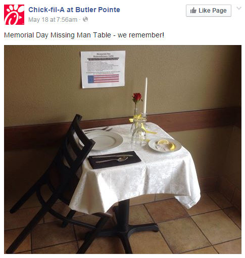 Empty chair at Chick-Fil-A