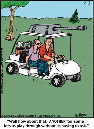 Golfing with a howitzer