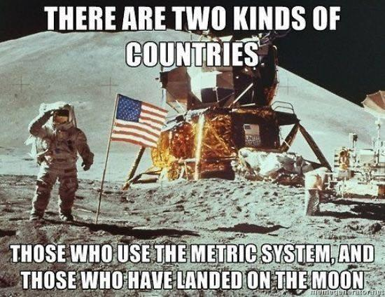 Metric system moon landings