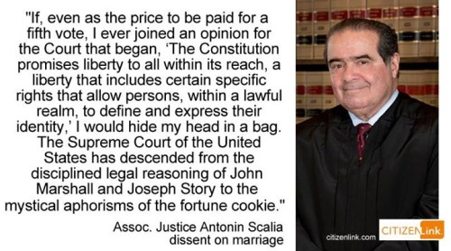Scalia on fortune cookie writing from Supreme Court