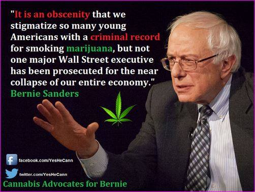 Bernie Sanders conflates marijuana and corporate malfeasance