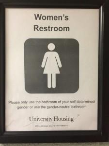 Restroom sign Appalachian State University