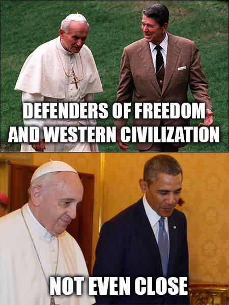 Reagan John Paul II Obama Frances