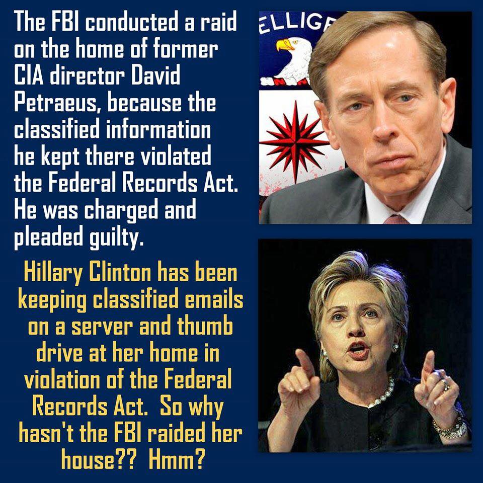 HIllary and Petraeus double standard