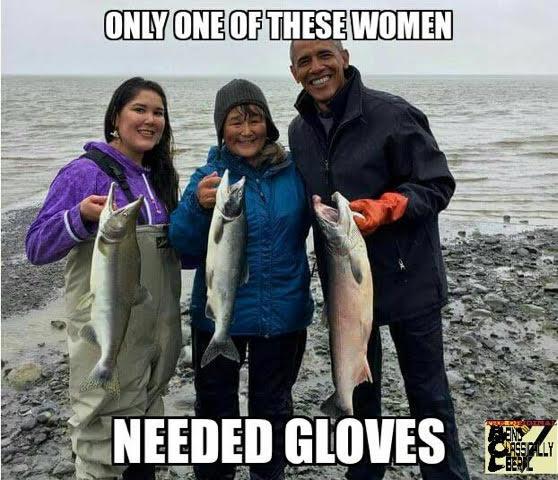 Obama wears gloves