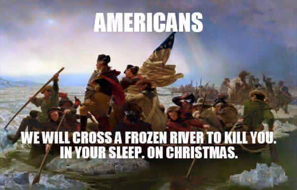 Americans cross frozen rivers on Christmas to kill