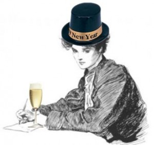 New Year bookworm woman