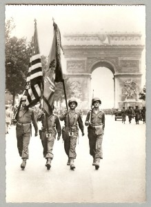 American troops parading through Paris WWII