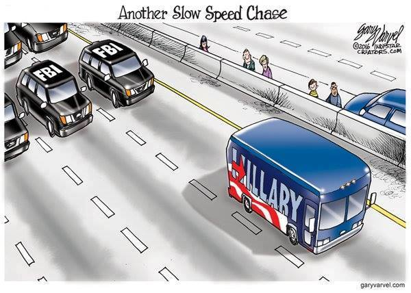 Slow speed chase Hillary FBI