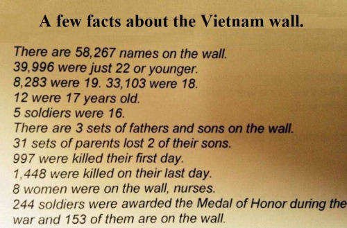 Military facts about Vietnam wall