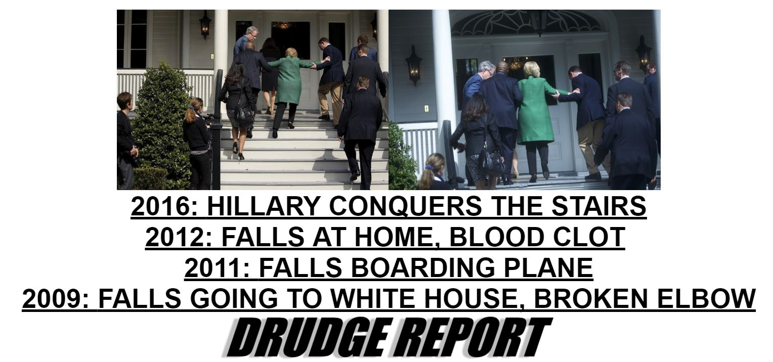 Hillary barely manages to climb stairs