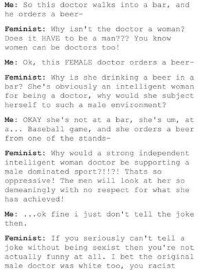 Gender trying to tell feminist a joke